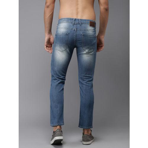 Moda Rapido Men Blue Slim Fit Low-Rise Low Distress Cropped Stretchable Jeans