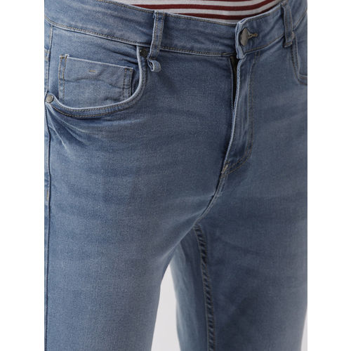 Mast & Harbour Men Blue Skinny Fit Mid-Rise Slash Knee Stretchable Jeans