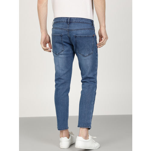 ether Men Blue Cropped Mid-Rise Clean Look Stretchable Jeans