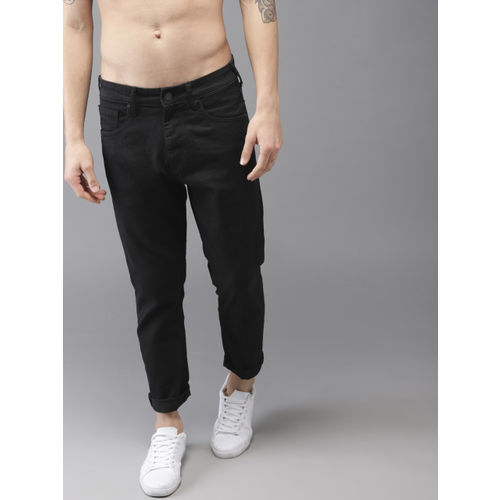 Moda Rapido Men Black Tapered Fit Mid-Rise Clean Look Stretchable Cropped Jeans