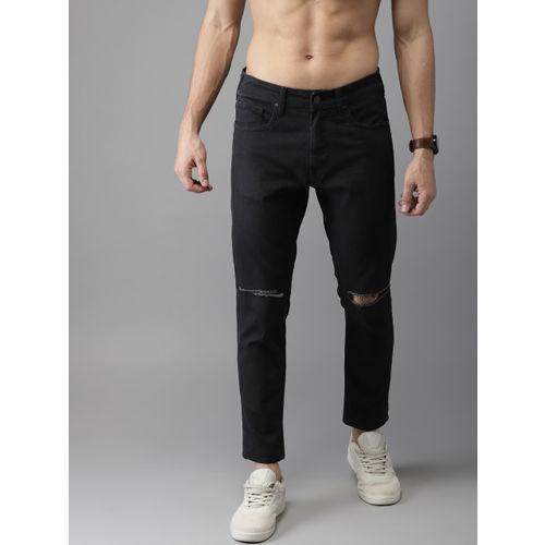 Moda Rapido Men Black Slim Fit Mid-Rise Slash Knee Stretchable Cropped Jeans