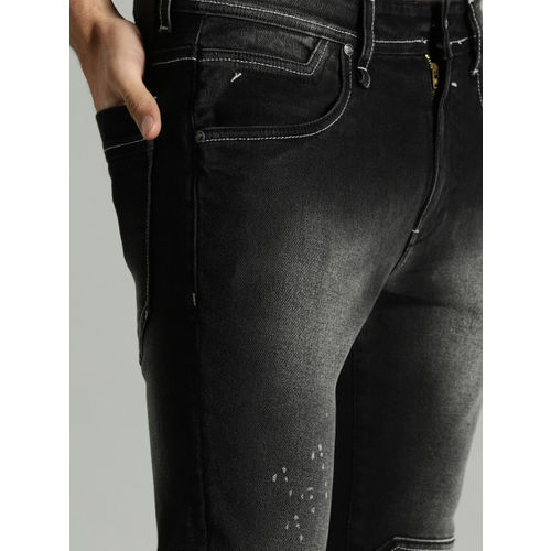 Roadster Time Travlr Men Black Skinny Fit Mid-Rise Clean Look Stretchable Printed Jeans