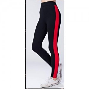 2f50322ab0348 Code Yellow Women's Wide Red Side Stripe Stretchable Trendy Black Jeggings  Yoga Gym Wear