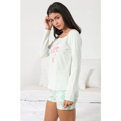 Zivame Chic Checks Top N Shorts Set - Green N Print