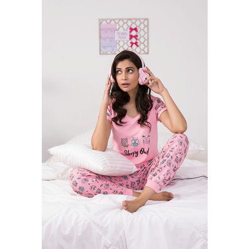 Zivame Sleepy Owl Top N Pyjama Set- Pink N Print