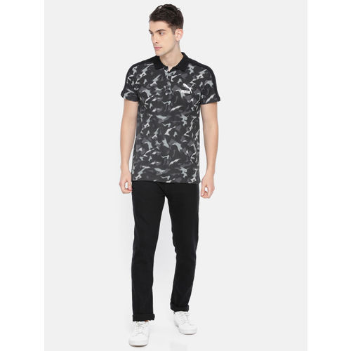 Puma Men Black Camouflage Printed Classics Graphics Polo Collar T-shirt