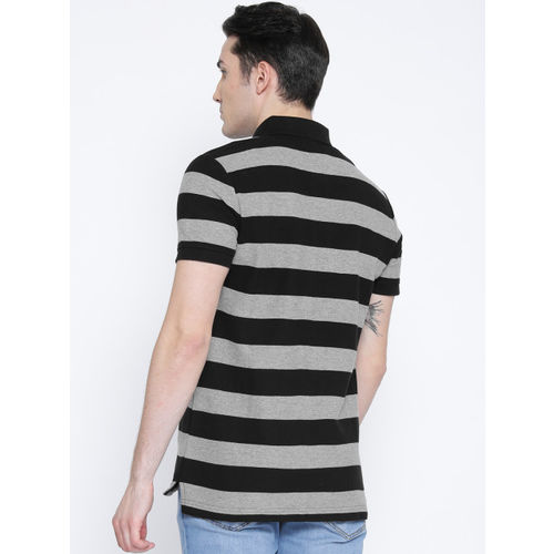 Puma Men Black & Grey Melange ESS Striped Pique Polo T-shirt
