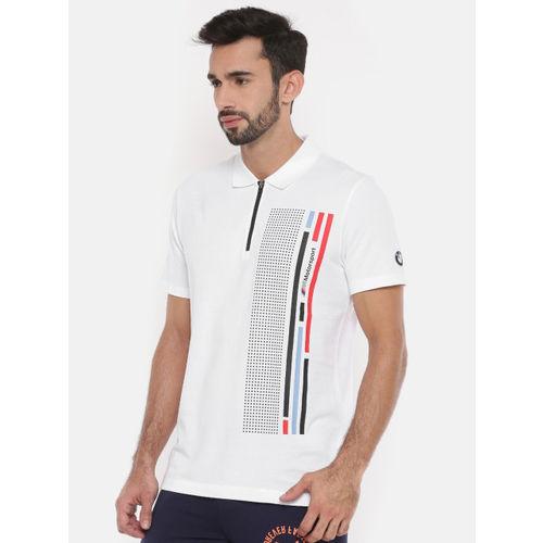 841d72ad080 ... Puma Men White   Black Printed BMW MMS Graphic Polo Collar T-shirt ...