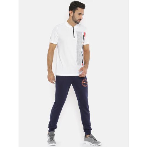 Puma Men White & Black Printed BMW MMS Graphic Polo Collar T-shirt