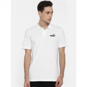 Puma Men White Solid Polo Collar ESS Jersey Polo T-shirt