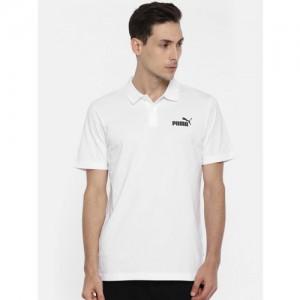 Puma Men White Solid Polo Collar ESS Jersey Polo T-shirt