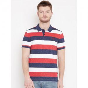 Puma Men Navy Blue & Red India Colourblock Stripe Polo T-shirt