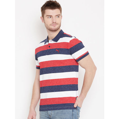 Puma Men Navy Blue & Red India Colourblock Stripe Polo T-shirt