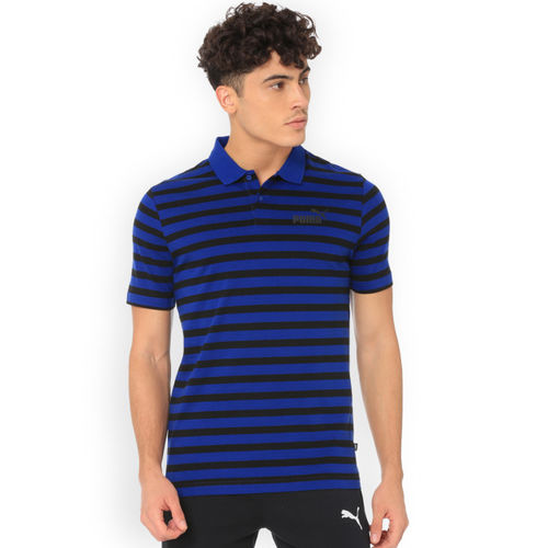 Puma Men Navy Blue & Black Striped Polo Collar T-shirt