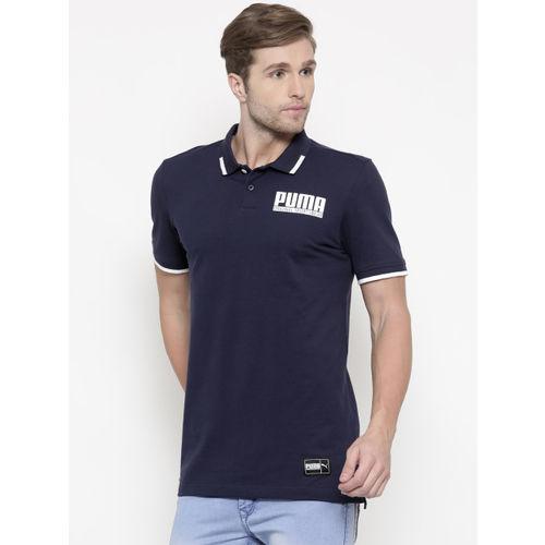 Puma Men Navy Blue STYLE Athletics Polo T-shirt