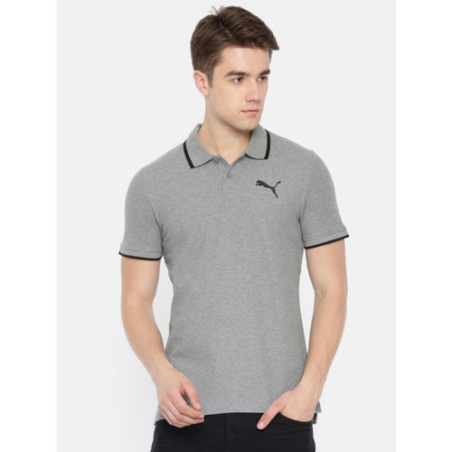 Puma Men Charcoal Grey Modern Sports Polo Dry-Cell Solid T-shirt