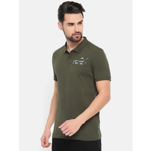 9ac508d7 Buy Puma Men Olive Green Graphic Pique Polo I Solid T-shirt online ...