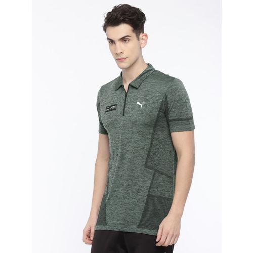 Puma Men Olive Green Solid MAPM evoKNIT Polo T-shirt