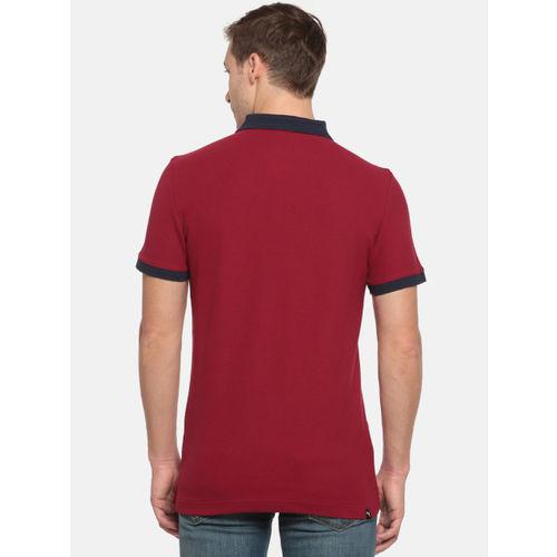Puma Men Maroon Contrast Slim Fit Polo T-shirt