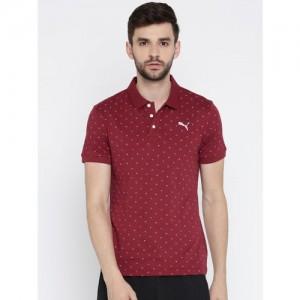 Puma Men Maroon Printed Slim Fit Polo AOP Polo -1 M T-shirt