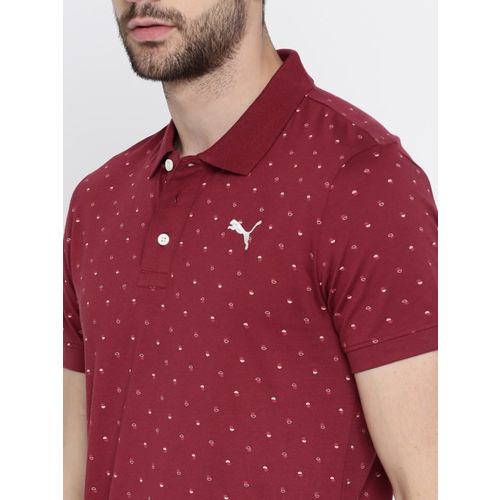Puma Men Maroon Printed Slim Fit Polo AOP Polo -1 M T-shirt