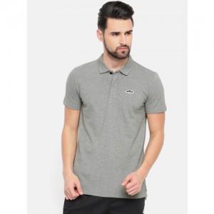 Puma Men Grey Melange Solid Suede Polo Collar T-shirt