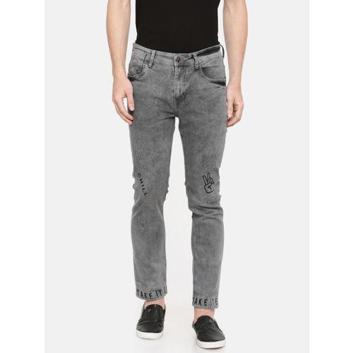 Kook N Keech Men Grey Skinny Fit Mid-Rise Low Distress Stretchable Jeans