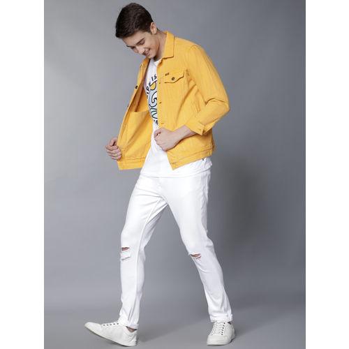 LOCOMOTIVE Men White Slim Fit Mid-Rise Slash Knee Stretchable Jeans