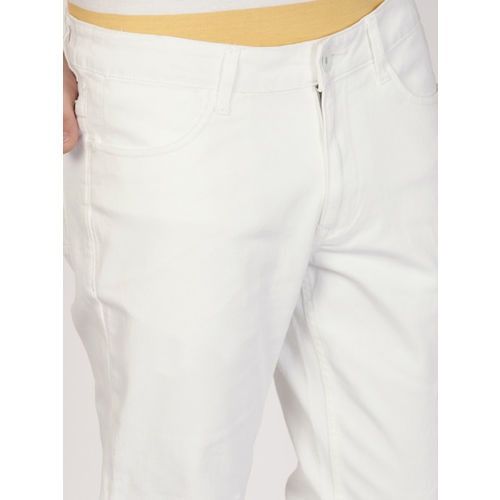 ether Men White Slim Fit Mid-Rise Clean Look Stretchable Jeans