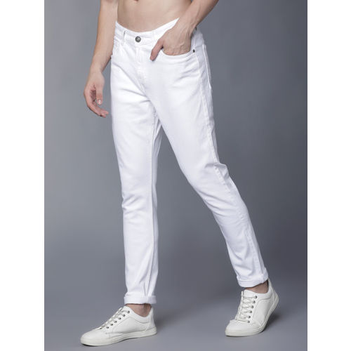 HIGHLANDER Men White Tapered Fit Mid-Rise Clean Look Stretchable Jeans