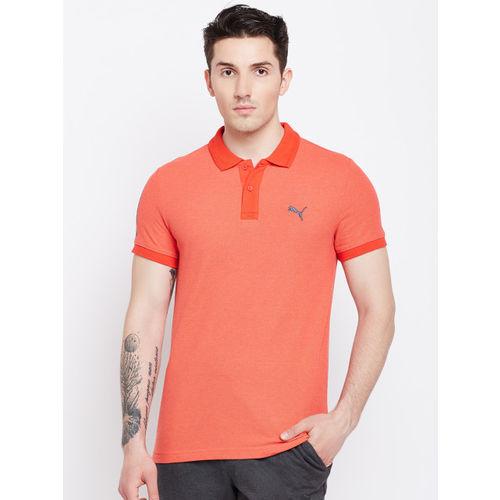 Puma Men Coral Solid Polo Collar T-shirt