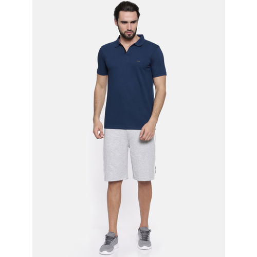 Proline Men Navy Blue Solid Polo Collar T-shirt