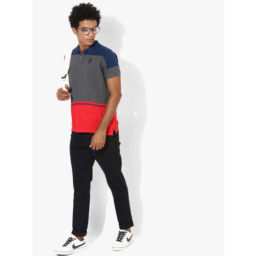 Proline Charcoal Colourblocked Regular Fit Polo T-Shirt