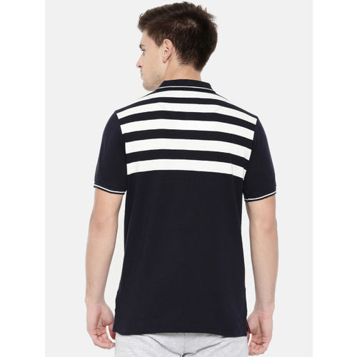 Proline Men Navy Blue Striped Polo Collar T-shirt