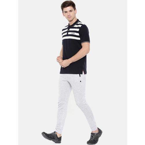 Proline Men Navy Blue Striped Polo Collar T-shirt