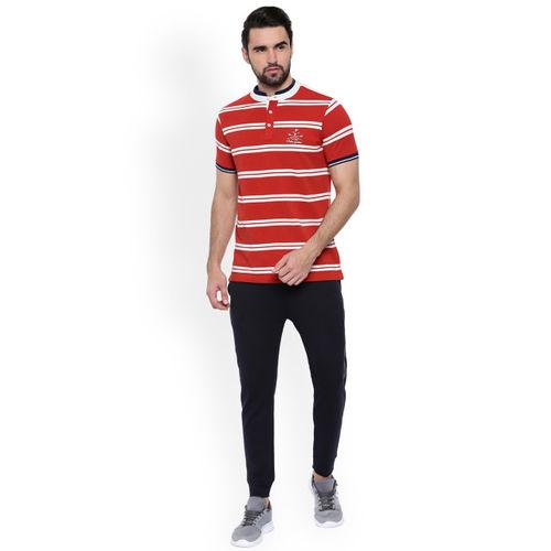 Proline Men Red Striped Henley Neck T-shirt