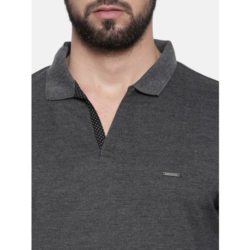 Proline Men Charcoal Solid Polo Collar T-shirt