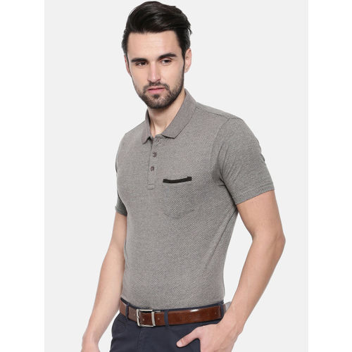 Proline Men Grey Melange Solid Polo Collar T-shirt