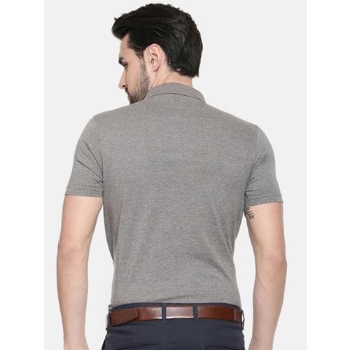 Proline Men Grey Melange Solid Polo Collar T-shirt