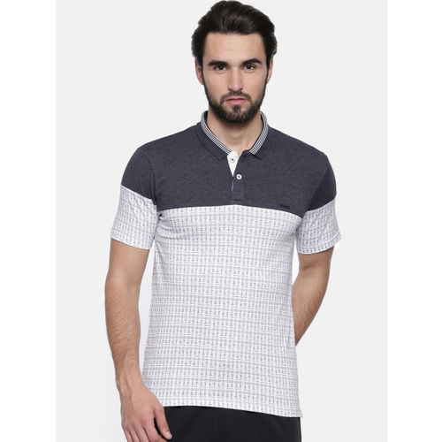 Proline Men White Printed Polo Collar T-shirt
