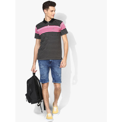 Proline Black/Grey Striped Regular Fit Polo T-Shirt