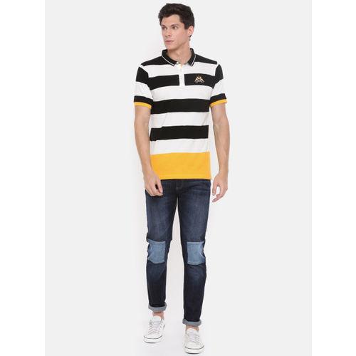 Proline Men White Striped Polo Collar T-shirt