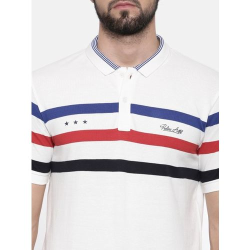 Proline Men White Striped Polo Collar T-shirt