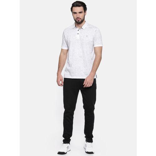 Proline Men White Printed Polo Collar T-shirt