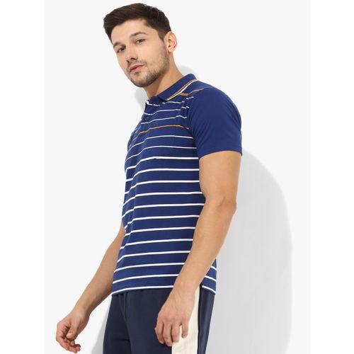 Proline Navy Blue Striped Regular Fit Polo T-Shirt