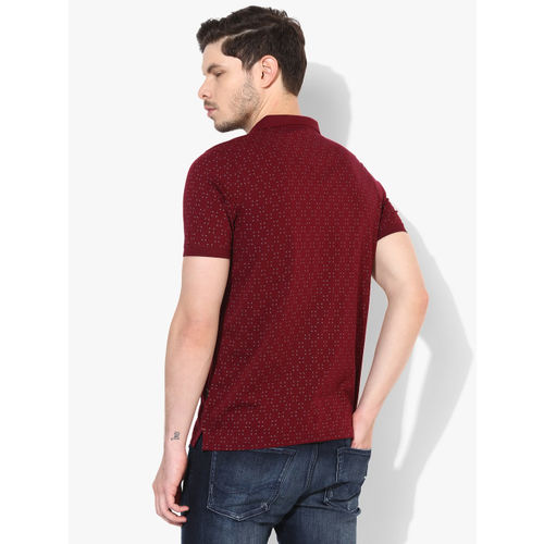 Proline Maroon Printed Regular Fit Polo T-Shirt
