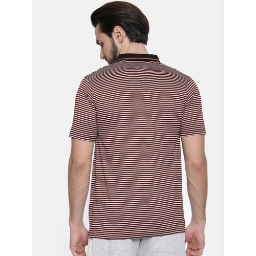 Proline Men Maroon Striped Polo Collar T-shirt