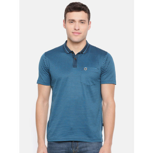 Proline Men Teal Striped Polo Collar T-shirt