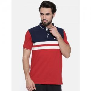 Proline Men Red Colourblocked Polo Collar T-shirt