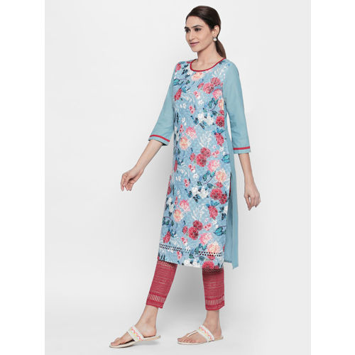 Naari Women Blue Floral Printed Straight Kurta